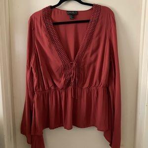 Bell sleeve v-neck blouse